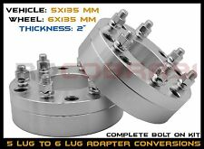 "2 FORD 5x135 TO 6x135 2"" CONVERSION WHEEL ADAPTERS CHANGES LUG PATTERN 5 TO 6"