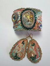 Dia de los Muertos (Day of the Dead) Beaded Shibori Silk Cuff and Earrings Set