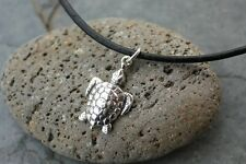 Sea Turtle Necklace- Sterling silver charm, black leather cord - mens or womens