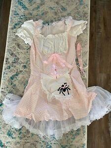 Little Miss Muffet Sexy Pink & White Gingham Mini Dress Fantasy Costume Dress Sm