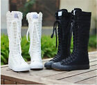 2015New EMO PUNK Women Girl Shoes Canvas Flat Tall Boots Zip Knee High Sneaker