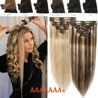 CLEARANCE Clip In 100% Real Remy Human Hair Extensions Balayage/Ombre Full Head