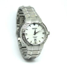 Ladies Swiss CROTON Mother of Pearl CZ Sapphire Crystal Stainless Steel Watch
