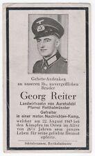Sterbebild Gefreiter motor.Nachrichten-Komp. - gef. 22.08.1943 Iwanowka