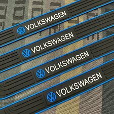 4PCS Blue Rubber Car Door Scuff Sill Cover Panel Step Protector For Volkswagen