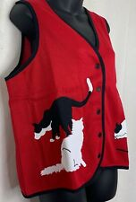 Blair Womens Button Up Vest Sleeveless Cardigan Red Black White Cats Novelty L