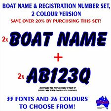 CUSTOM 15cm high BOAT REGISTRATION numbers & 45cm long BOAT NAMES decal sticker