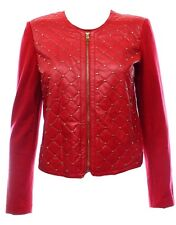 Ellen Tracy Red Quilted Gold Studded Basic Jacket NWT Size Large $139