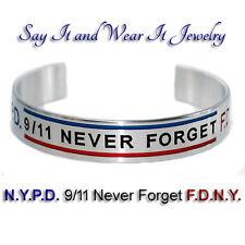 N.Y.P.D. 9/11 Never Forget F.D.N.Y. w/ Thin Blue and Red Line Bracelet Handmade