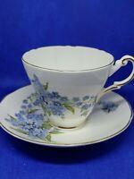 Heirloom Fine Bone China Tea Cup and Saucer Gold Trim -England Blue Floral VTG