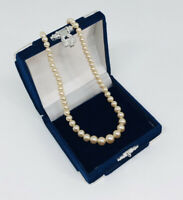 Vintage Faux Pearl Necklace Choker/Collar Silver Tone Clasp Made In England
