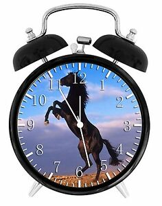 "Black Horse Alarm Desk Clock 3.75"" Room Decor Y45 Nice for Gifts wake up"