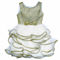 NEW Biscotti Ivory & Gold Ruffle Girls Dress Easter Wedding Party  4T 4  6X
