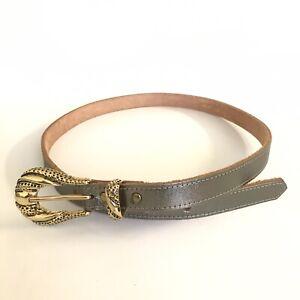 Joyke Adelaide Cowhide Leather Belt Size 32 Silver Strap Ornate Gold Tone Buckle
