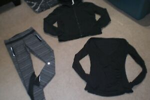 Lot of Rare Lululemon Speed Tights, Hoodie and Wrap Sweater sz 6