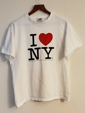 Vintage *1996* Fruit of the Loom I Love NY White Graphic T-Shirt Size L Unisex