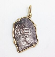 Shipwreck Coin Pendant Necklace 14k Yellow Gold Bezel Men's Jewelry 8 Reale Cob