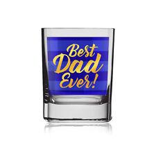 Gold Blue Best Dad Glass Tumbler Gift Idea