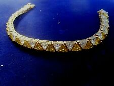 """UTC SIGNED STERLING SILVER/14K GF ELECTRIC YELLOW/CLEAR SPARKLING BRACELET 8""""L"""
