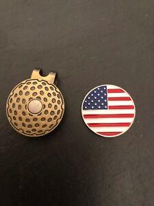 New USA FLAG Logo Flat Coin Magnetic GOLF HAT CLIP United States Stars& Stripes