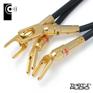 4 x EDGE Gold plated Y Fork Speaker Spade /Amp cable connectors - SP1