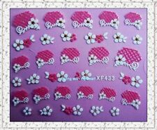 White/Pink Cherry Blossom Flower Lace Wedding Decal Nail Art Stickers  XF433