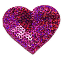 HEARTS-HOT PINK SEQUIN HEART -Iron On Embroidered Applique/Hearts, Valentines