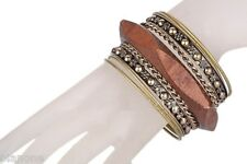 Antiqued Brass and Wood Bangle 9 Piece Bracelet Set