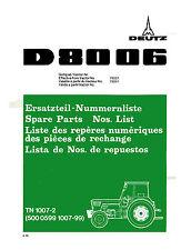 Ersatzteilliste Deutz Schlepper Traktor D8006