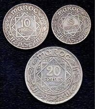 Morocco LOT 20 + 10 + 5 Francs  AH1352 Silver  Y# 37+38+39