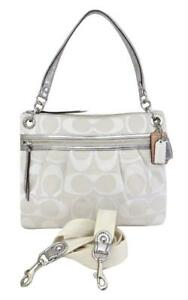New NWT Coach Poppy White Signature Silver Leather Crossbody Hippie Purse 19131