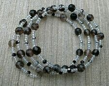 Unique Handmade Rutilated Quartz & Glass Seed Bead Memory Wire Bracelet Gift