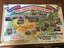 1986 The Great American Race Poster Interstate Batteries 1912 Garage Man Cave