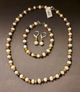 Yellow Tiger Eye and White Freshwater Pearl Beaded, Bracelet & Earrings