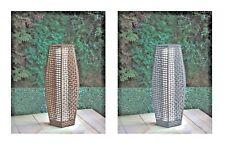69cm Outdoor Floor Lamp Garden Rattan Effect Solar Powered Lights Brown & Grey