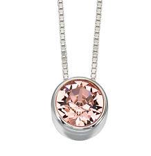 solitaire pendentif de Curseur rose cristal collier en argent fin
