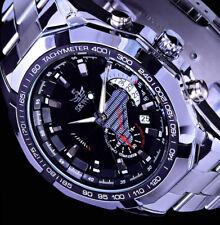 Mechanische Automatik Uhr Herrenuhr Armbanduhr Schwarz Silber Farben Datuml CH02
