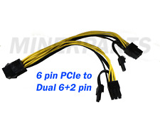 6 pin PCIe to dual 6+2 pin PCIe splitter cable by MinerParts 20 cm dual 8 pin