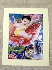 Chinese Boy Child Propaganda Art Print Political Koi Carp Fish Kittens Cat