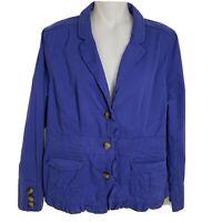 Ann Taylor Loft Womens Blazer Jacket Size 12 Petite Blue Button Ruffle Pockets