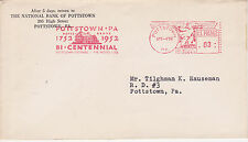 POSTAL HISTORY ADVERTISING METERED COM COVER 1952 NATIONAL BANK OF POTTSTOWN, PA