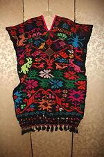 Vintage Black Pink Multi-Color Floral Embroidered Fringe Huipil Poncho S M L XL