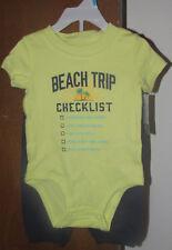 Boys Carter's NWT 2 pc yellow Beach Trip bodysuit navy Local Hunk pants size 6m