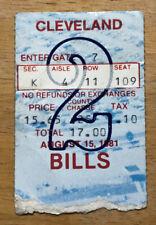 Vintage 1981 Buffalo Bills Preseason Ticket Stub vs Cleveland Browns Rich Stadiu