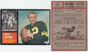 1962 Topps Bobby Layne Card #127 Pittsburgh Steelers Texas