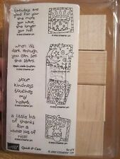 QUICK & CUTE STAMPIN' UP RUBBER 8 STAMP SET 2002 CAKE HEART FLOWERS MOON NEW