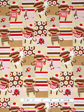 Sock Monkey Baby Fabric - Nursery Cute Monkeys QT Zoe & Zack Girl Pink - Yard