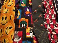 Lot 100 Novelty Neckties Sports Food Looney Pooh Ralph Marlin Xmas + More Ties