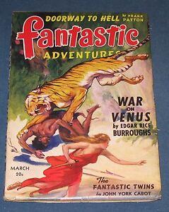 Fantastic Adventures March 1942 Pulp Magazine Edgar Rice Burroughs Venus