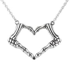 Skeleton Bone Hand Necklace Love Heart Pendant - I LOVE YOU TO DEATH By Controse
